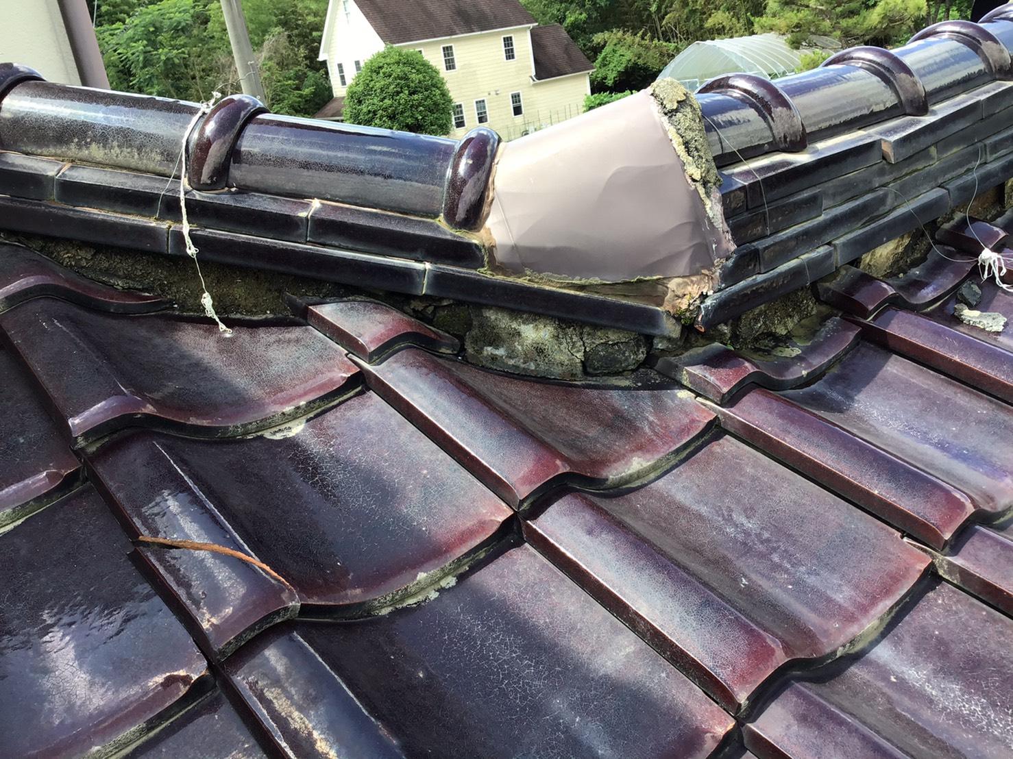 屋根漆喰補修 施工前